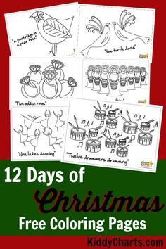 12 days of Christmas colouring pages or sheets for you to colour in - as well as a Christmas Countdown chart based on the Partridge in the Pear tree song. All FREE. What more could you ask for?