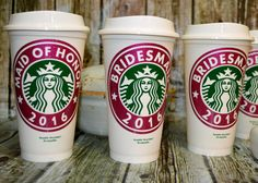 Bridesmaid Gifts Starbucks Coffee Cup Personalized with Name • Mug • Tumbler (Genuine Starbucks Cup, Reusable) [wedding party gift idea] by CleverHollyDesigns on Etsy https://www.etsy.com/listing/265385322/bridesmaid-gifts-starbucks-coffee-cup