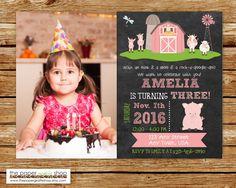 Farm Birthday Invitation | Pink Farm Birthday Party | Pink Pig Farm Party | Birthday Invitation for Girls | Pink Pig Farm Birthday Invites by ThePaperGiraffeShop on Etsy