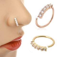 3 Colors Chic Small Thin 5 Crystals Rhinestone Charming Nose Hoop Ring For Women Girls - piercing Style Lip Piercing Jewelry, Ear Cuff Piercing, Helix Cartilage Earrings, Nose Ring Jewelry, Nose Ring Stud, Ear Piercings, Body Piercing, Diamond Nose Ring, Diamond Bangle