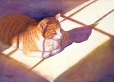Catnap, cat watercolor print from original painting $39    This was my cousin's cat, he was such a sweetie