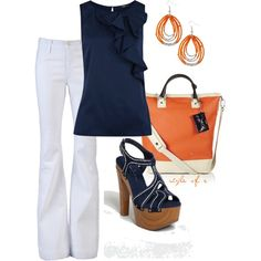 Navy and Orange by styleofe on Polyvore featuring polyvore, fashion, style, Oasis, James Jeans, Jessica Simpson, Diane Von Furstenberg and Old Navy
