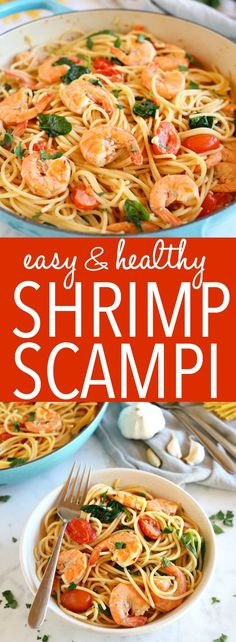 Easy Healthy Shrimp Scampi is a delicious and healthy weeknight meat featuring fresh shrimp, pasta and veggies in a light-tasting garlic cream sauce! Recipe from ! Healthy Weeknight Meals, Healthy Pastas, Easy Healthy Recipes, Easy Meals, Healthy Dishes, Healthy Italian Recipes, Healthy Shrimp Scampi, Garlic Shrimp Scampi, Shrimp Scampi With Spinach Recipe
