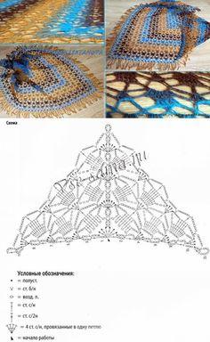 Треугольная шаль браун-блю | накидки и шали | Постила