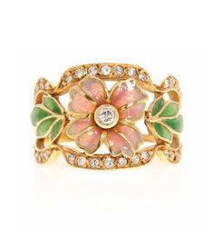 Masriera y Carreras -  sortija floral en oro y pedrería -  En oro y diamantes talla brillante, 0,46 cts.  | Balclis - Barcelona.