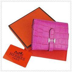 Hermes Deep Pink Bearn Mini Crocodile Leather Wallet $135.00 Save: 82% off