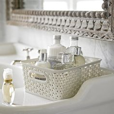 Small Faux Rattan Storage Basket for storing items in the fridge like butter, cheese & yogs