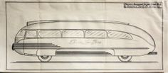 Streamlined Aerodynamic Bus Drawing General Body Company original vintage available at CrowCreekVintage on Etsy