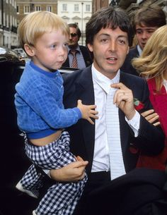 London May 15th 1981. Paul McCartney and son James at Rags Club Mayfair for Ringo Starr and Barbara Bach Wedding Reception
