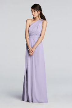 Stay on trend with this chicasymmetrical floor length bridesmaid dress.  Crinkle chiffon dress features a one shoulder asymmetric necklinewith keyhole detail.  Features a side slit for added movement.  Fully lined. Zipper Back. Imported polyester. Dry clean only.  Also available in Extra Lengthsizes asStyle 4XLF18055. To protect your dress, try our Non Woven Garment Bag.