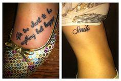 Foot tattoo, happy life, smile tattoo, love it