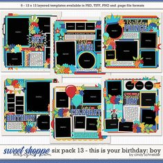 Cindy's Layered Templates - Six Pack This is Your Birthday - Boy by Cindy Schneider Scrapbook Templates, Scrapbook Page Layouts, Scrapbook Pages, It's Your Birthday, Boy Birthday, Photo Drop, Digital Scrapbooking, Scrapbooking Ideas, Birthday Template
