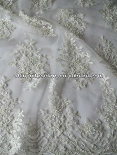 fancy white embroidered tulle fabric with heavy beads sequence for wedding dress $12~$14