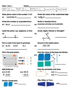 This is the first 12 weeks of my Daily Math Review.  This 5 page daily math review has 4 sheets of practice (Monday - Thursday) and 1 assessment wi...