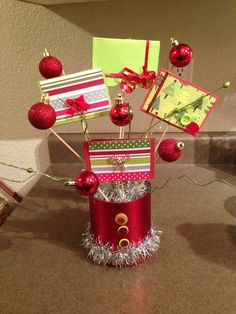 Christmas gift card and candy bouquet