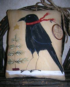 Christmas Crow Prim Christmas, Country Christmas, Christmas Crafts, Xmas, Crow Painting, Tole Painting, Primitive Folk Art, Primitive Crafts, Holidays Halloween