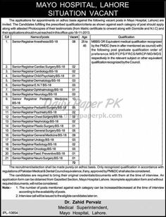Jobs in Mayo Hospital Lahore http://www.dailypaperpk.com/jobs/199230/jobs-mayo-hospital-lahore