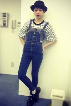 From Summer to Fall : Checked Top with Denim All-in-one | Fall & Winter | Dolly & Molly | www.dollymolly.com | #black #white #navy #denim #jeans #slim #snap #japanese #fashionstyle