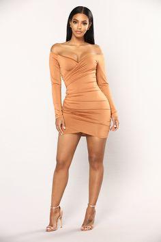 Keara Off Shoulder Dress - Camel