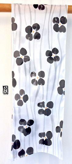 Silk Scarf Handpainted Gift for her Gift for Women Black