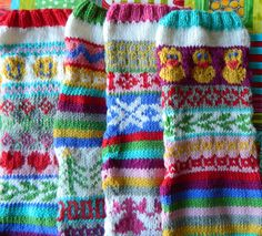 the vintage umbrella: Fair Isle Christmas stockings with pattern links to Ravelry