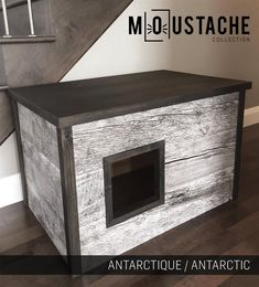 Cat Litter Box Cover, Pet Furniture, Cat House, Modern Litter Box Cabinet made of spruce wood Diy Litter Box, Litter Box Covers, Litter Box Enclosure, Stain On Pine, Wood Cat, Sisal Rope, Cat Scratching Post, Pet Furniture, Covered Boxes