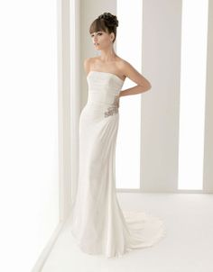 Pretty sheath / column natural waist chiffon over satin wedding dress