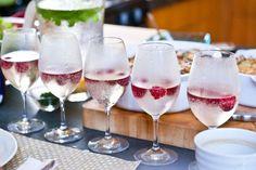 prosecco and raspberries