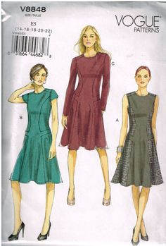 Vogue V8848, Sewing Pattern, Misses Dresses, Size  14, 16, 18, 20, 22,  Out Of Print by OhSewWorthIt on Etsy