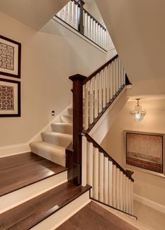 Steps of stairs in upstairs color with rise in downstairs color!