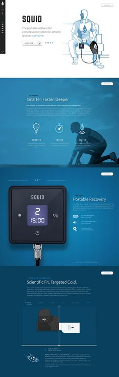 "I like the blue/white colours and technical typo of this one-page webdesign for ""Squid Compression - Athletic recovery. Simple Web Design, Web Ui Design, Best Web Design, Web Design Trends, Design Set, Design Ideas, Web Layout, Wordpress, Apps"