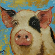 Acrylic pig painting by Rosilyn Young.