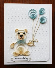 Quilled Baby Boy Greeting Card by TaniasPaperTrails on Etsy