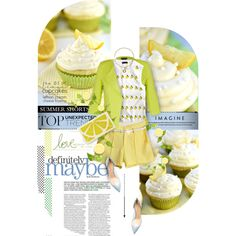 Lemon cakes by kseniz13 on Polyvore featuring J.Crew, City Chic, Gianvito Rossi, Alice + Olivia and Bloomingdale's