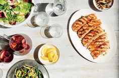 Grilled Salmon With Garlicky Mushrooms and Beans | This dish can be made with any combination of wild mushrooms—oyster, shiitake and cremini all work well.
