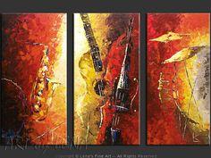 """""""A Jazz Symphony"""" - Original Music Art by Lena Karpinsky, http://www.artbylena.com/original-painting/20419/a-jazz-symphony.html"""