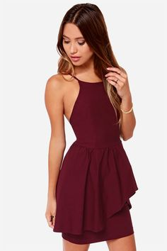The Save the Last Dance Burgundy Dress has a fitted bodice while a full skirt tapers asymmetrically in front to show off a sexy fitted tube skirt below. Hoco Dresses, Dance Dresses, Pretty Dresses, Homecoming Dresses, Beautiful Dresses, Dress Outfits, Formal Dresses, 1950s Dresses, Prom Gowns