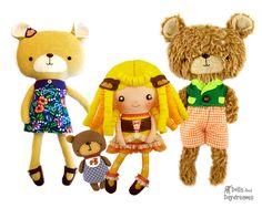 Goldilocks Doll Three Bears Sewing Pattern by DollsAndDaydreams