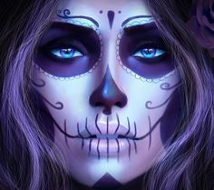 La Catrina by MagicnaAnavi on DeviantArt Day Of The Dead Girl, Day Of The Dead Skull, Sugar Skull Girl, Sugar Skull Makeup, Sugar Skulls, Sugar Skull Face Paint, Skull Girl Tattoo, Sugar Skull Tattoos, Maquillage Halloween