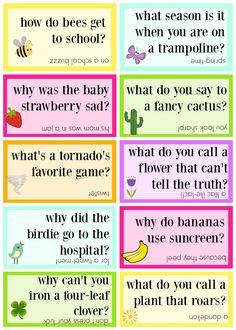 Lunchbox jokes free printable - springtime jokes