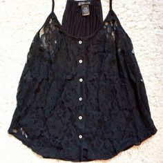 Black lace button front tank top New super cute black lace front loose fit tank too. Back is solid black. Size large grassy Tops Tank Tops