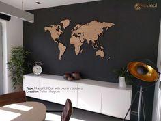 MapaWall houten wereldkaart Eiken met landsgrenzen