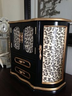 Hand painted and Decoupaged Wood Jewelry Box Leopard Design on Etsy, $110.00