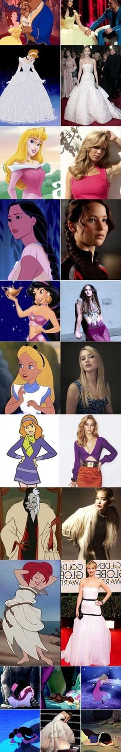 Jennifer Lawrence could play any Disney princess....not all these are princesses and Daphne is not even Disney,just wanted to point that out. Jennifer could definitely rock any role!
