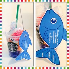 """We made these for our swim coaches...""""Thanks a 'latte' for an awesome summer season!""""  There's a Starbucks gift card, goldfish & Swedish fish inside the cup."""