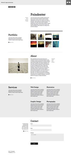 Poindexter Single Page Template ~~ Poindexter is a minimal, single-page portfolio template. Minimal code, clean CSS, Javascript scrolling navigation and lightbox portfolio.  Valid XHTML Strict and CSS3 Well commented code Liquid top bar over fixed content layout Minimal, clean layout jQuery