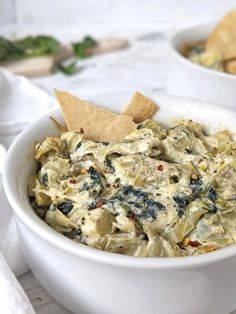 Healthy Hot Spinach Artichoke Dip | Hayl's Kitchen Spinach Tortilla, Tortilla Chips, Game Day Appetizers, Best Appetizers, Healthy Spinach Artichoke Dip, Low Fat Cream Cheese, Dips, Snack Recipes, Vegetarian