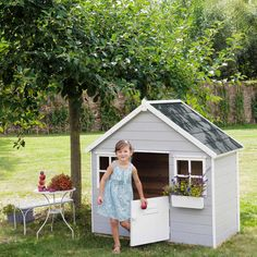 Kid's garden playhouse, grey - Lola Kids Garden Playhouse, Pallet Playhouse, Playhouse Outdoor, Gray Playroom, Wendy House, Shed Homes, Big Girl Rooms, House In The Woods, Play Houses