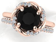 Wedding diamond Bridal Rings, Wedding Rings Set, Black Diamond Engagement Ring Set, Wedding Diamond Rings, Black Diamond Ring with the band by BridalRings on Etsy https://www.etsy.com/listing/255598699/wedding-diamond-bridal-rings-wedding