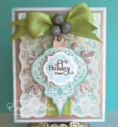 From 10/11/12 post on EvafromCA blog.  Spellbinders ornament die layered over snowflake diecut. So pretty!